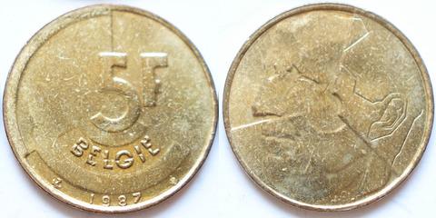 Бельгия 5 франков 1987