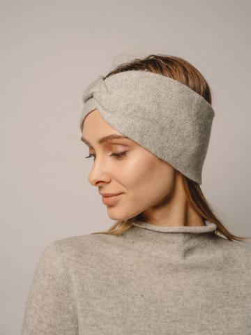 Женская повязка на голову цвета серый меланж из кашемира - фото 2