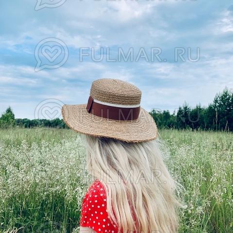 Коричневая соломенная шляпа канотье летняя женская Diva с рваными полями