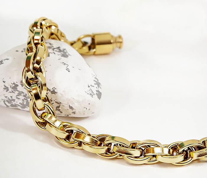 BM539-2 Крупный браслет цепь из стали золотистого цвета фото 03