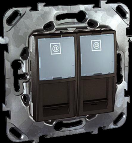 Розетка компьютерная двойная 2хRJ45 кат. 5е. Цвет Графит. Schneider electric Unica Top. MGU5.2020.12ZD
