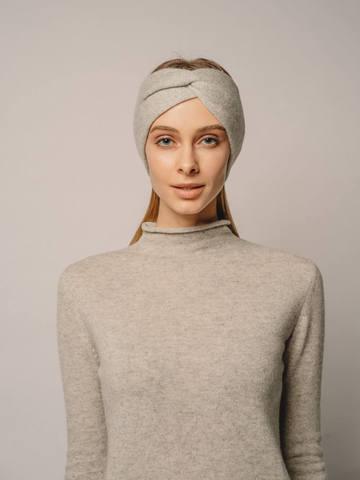 Женская повязка на голову цвета серый меланж из кашемира - фото 3