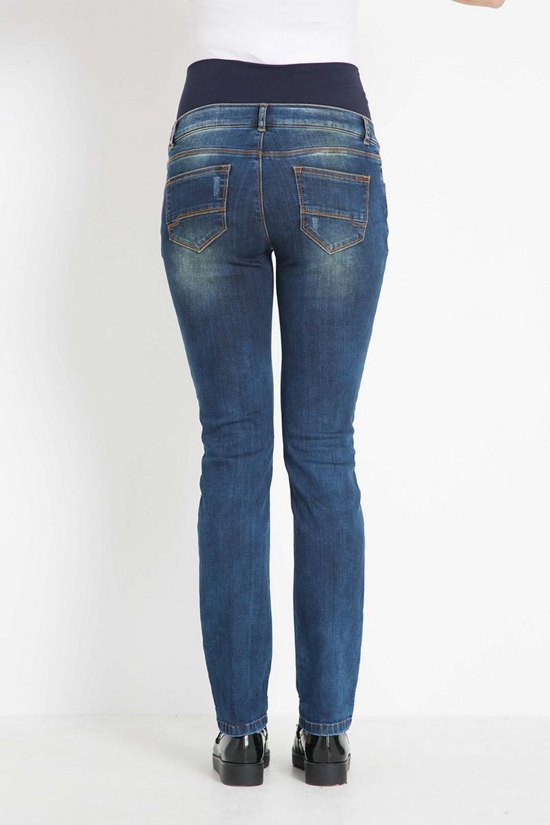 Фото джинсы для беременных GEBE, высокий бандаж с регулировкой объема от магазина СкороМама, синий, размеры.