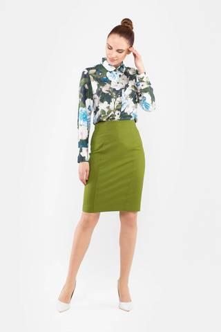Фото зеленая юбка-карандаш обтягивающего силуэта из вискозы - Юбка Б125-198 (1)