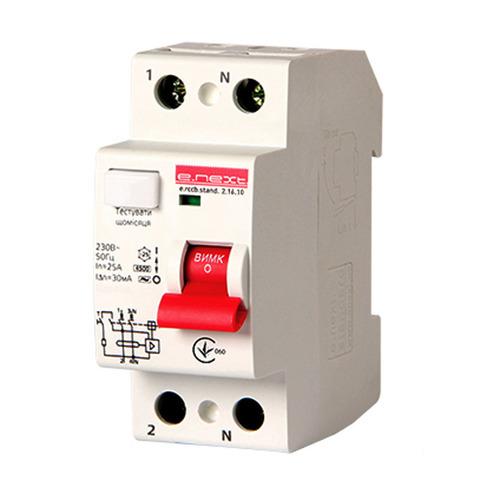 Выключатель дифференциального тока Enext stand.2.16.10 2р 16А 10mA