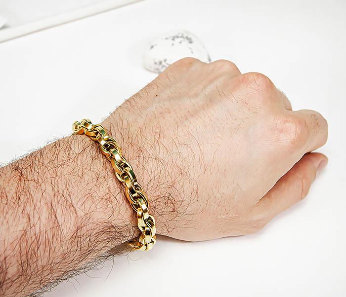 BM539-2 Крупный браслет цепь из стали золотистого цвета фото 06