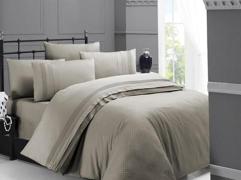 Комплект постельного белья DO&CO Сатин  жаккард DELUX SQUARE 2 спальный (Евро) цвет бежевый