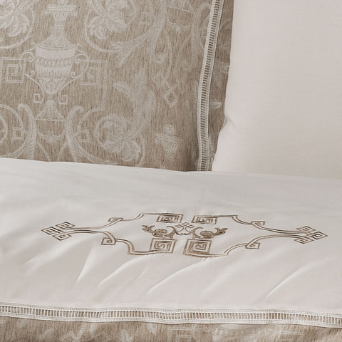 Постельное белье EMPERIUM кремовый лен жаккард  deluxe TIVOLYO HOME Турция