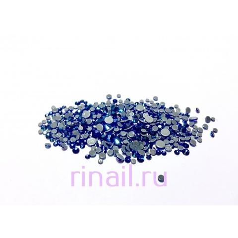 Стразы разноразмерные стекло, цвет синий 360 штук в баночке