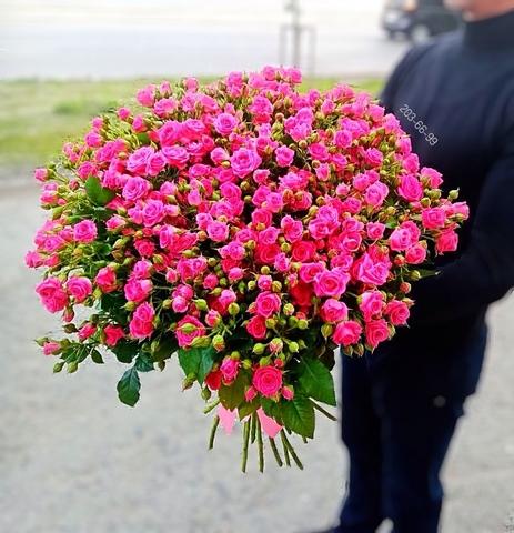 25 кустовых роз 70 см #2915