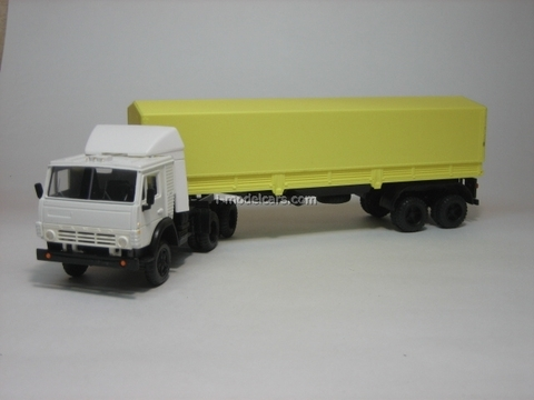 KAMAZ-5410 with semitrailer ODAZ with awning white-yellow Elecon 1:43