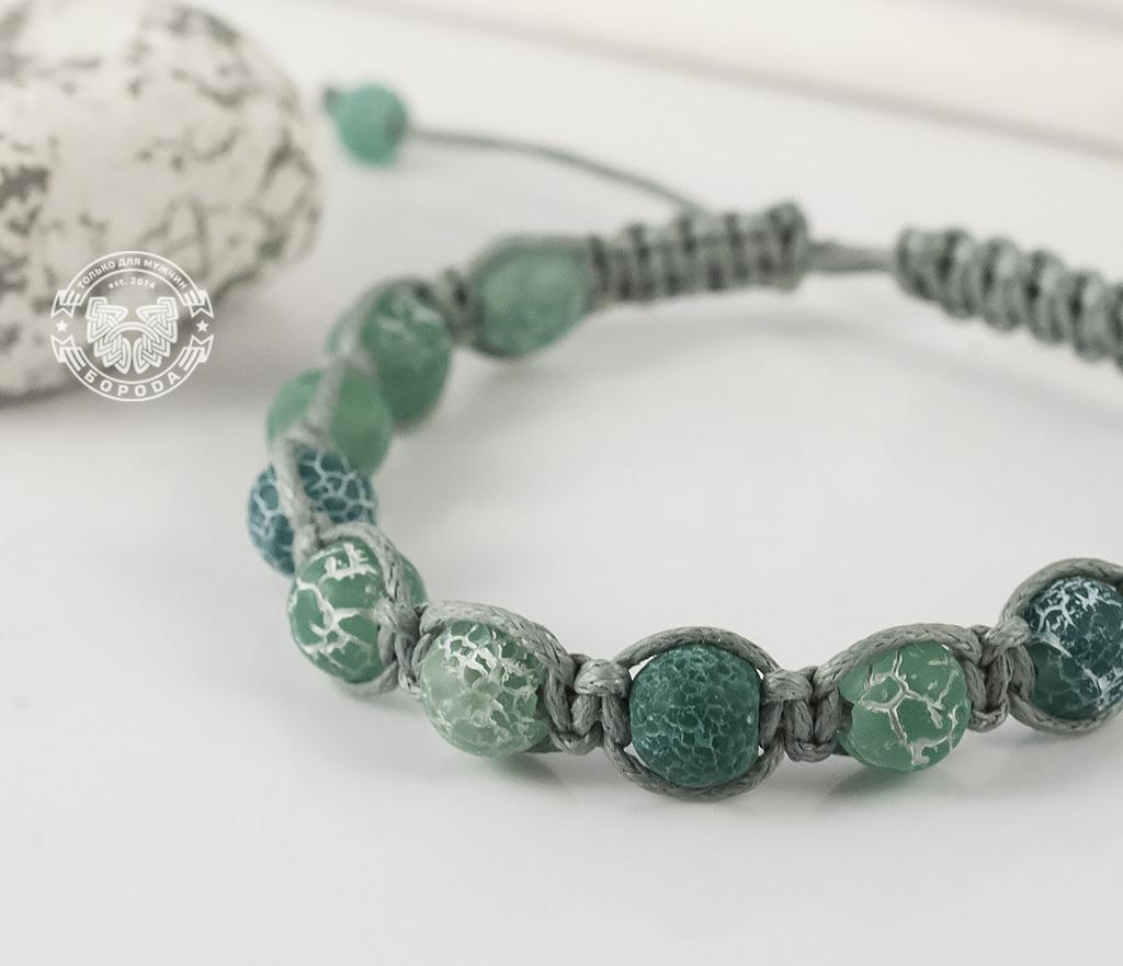 Boroda Design, Мужской браслет ручной работы из ярко-зеленого агата. «Boroda Design»