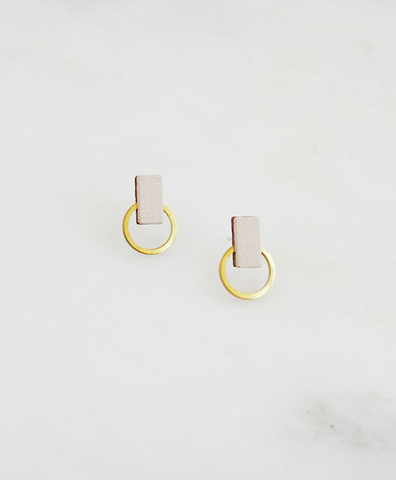 Серьги Orbit Studs Ecru