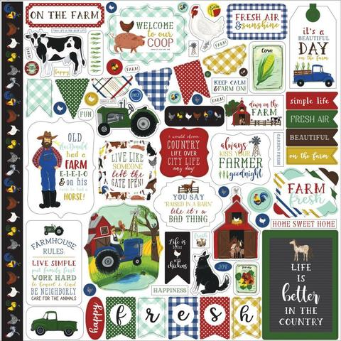 Лист  30х30см со стикерами  Down On The Farm Cardstock Stickers