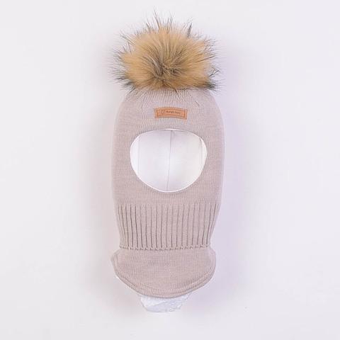 Шлем зимний с меховым помпоном