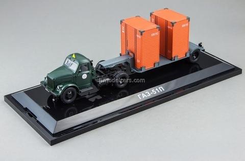 GAZ-51P green and T-213 semi gray DIP 1:43