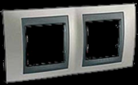 Рамка на 2 поста. Цвет Никель-графит. Schneider electric Unica Top. MGU66.004.239