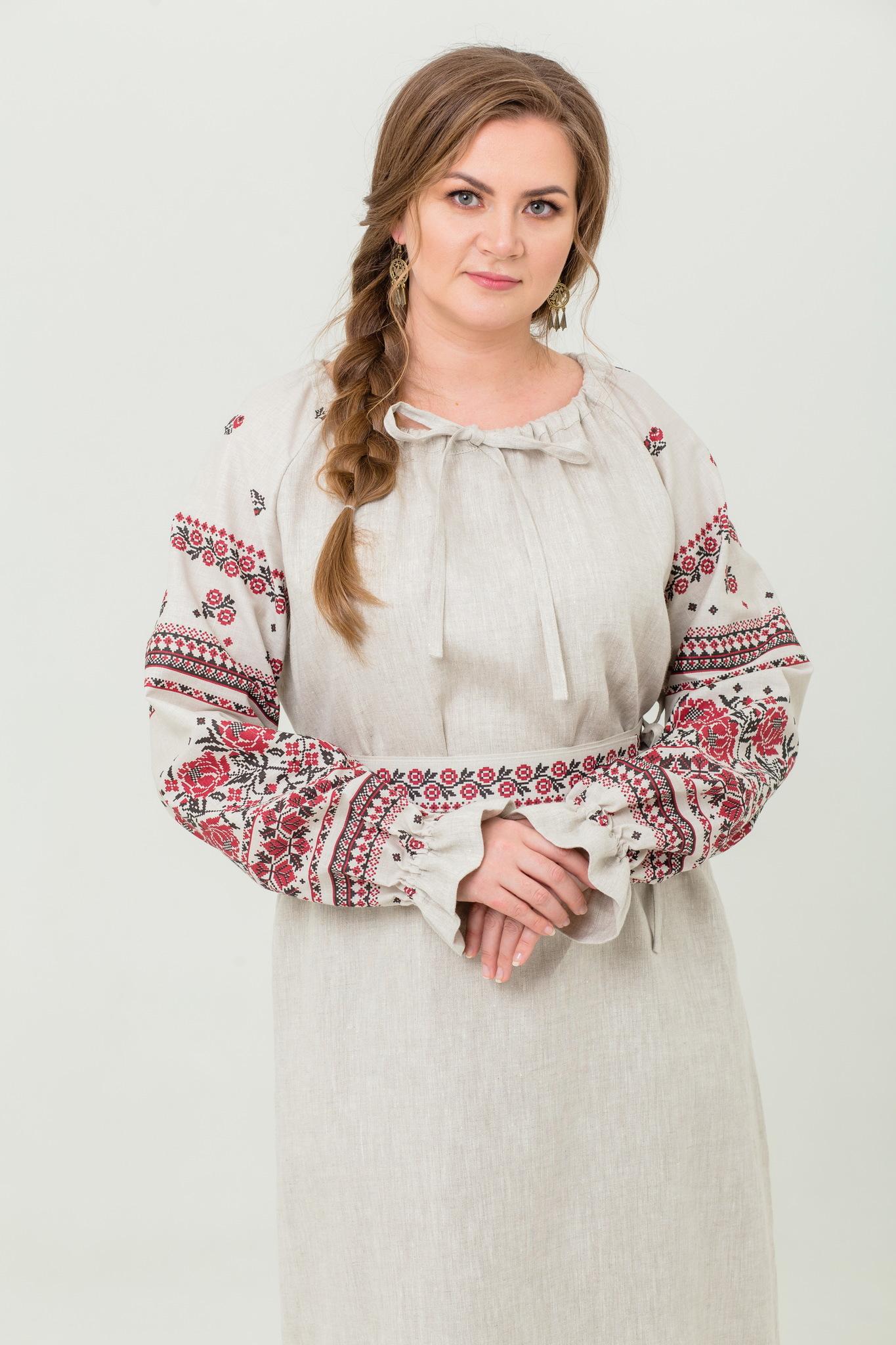 платье Женское счастье на небелёном русское народное