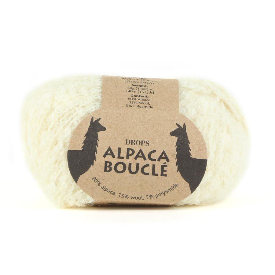 Пряжа Drops Alpaca Boucle 0100 молочный