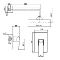 Смеситель KAISER Sonat 34277 с верхним душем скрытого монтажа схема