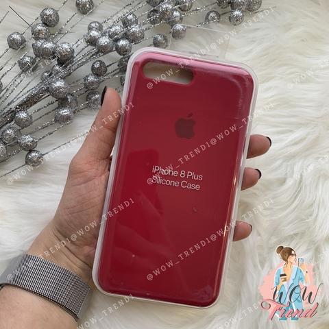 Чехол iPhone 7+/8+ Silicone Case /rose red/ малиновый original quality