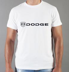 Футболка с принтом Dodge (Додж) белая 0010