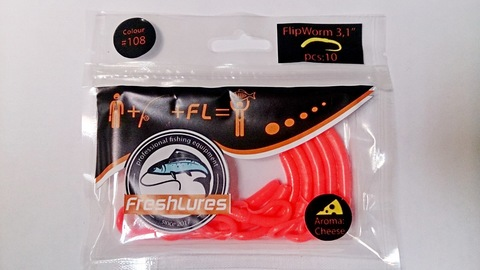 Силиконовая приманка FreshLures FlipWorm цвет 108, вкус сыра