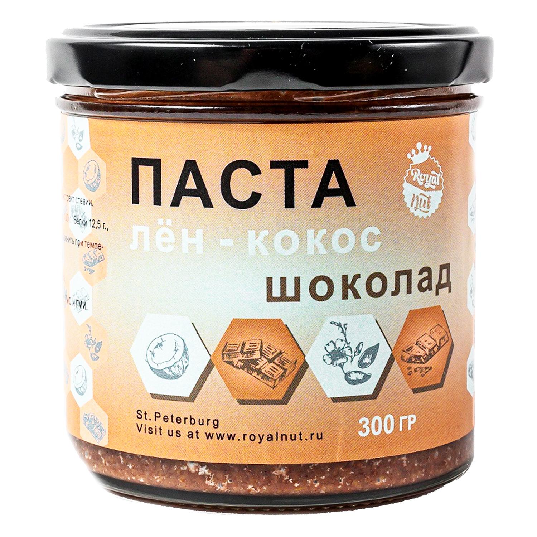 Кокосовая паста  со ЛЬНОМ и ШОКОЛАДОМ Royal Nut 300 г