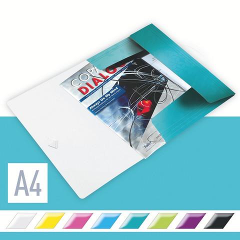 Папка-короб на резинках Leitz Wow А4 пластиковая бирюзовая (0.7 мм, до 150 листов)