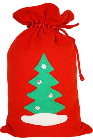Красный мешочек для подарков Ёлочка