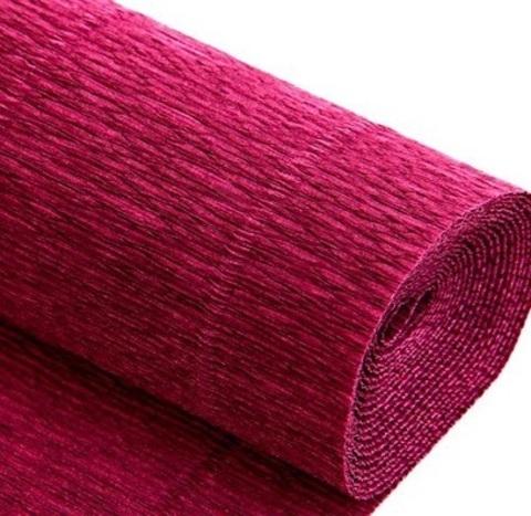 Бумага гофрированная, цвет 986 вишневый, 140г, 50х250 см, Cartotecnica Rossi (Италия)