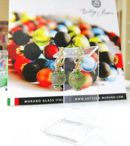 Серьги из муранского стекла со стразами Franchesca Ca'D'oro Medio золотисто-зеленые