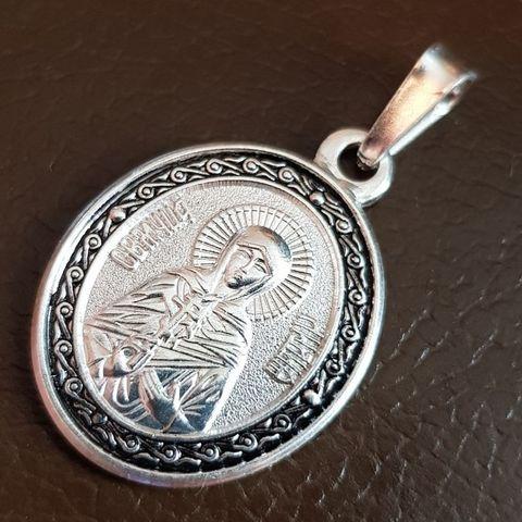 Нательная именная икона святая Лидия с серебрением кулон с молитвой