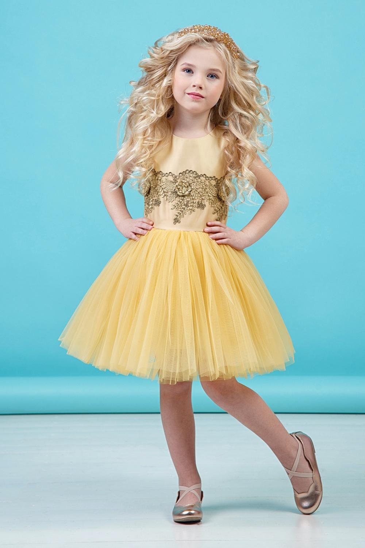 Платье желтое для девочки 38-9001-1