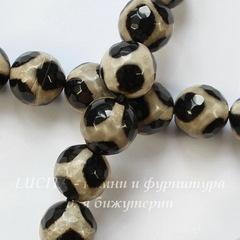 Бусина Агат (тониров), шарик с огранкой, цвет - коричневый с бежевым, 10 мм, нить