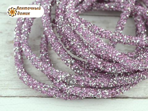 Шнур трубчатый стразовый розовое серебро 40 см