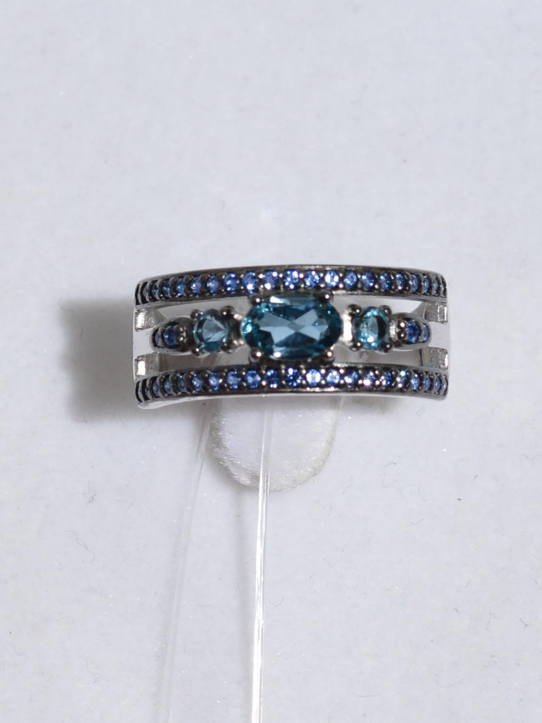 Кольцо с лондон топазами (кольцо из серебра).