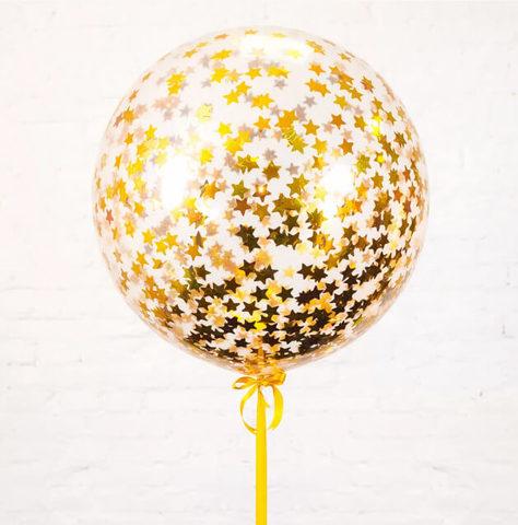 Большой шар с конфетти  звёздочки (золото)