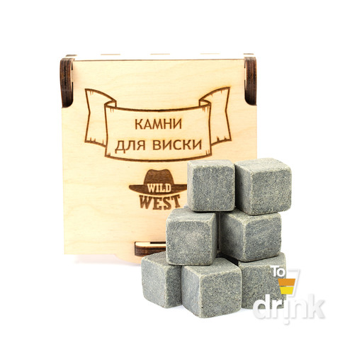 Камни для виски в деревянной коробке Wild West, 9 шт