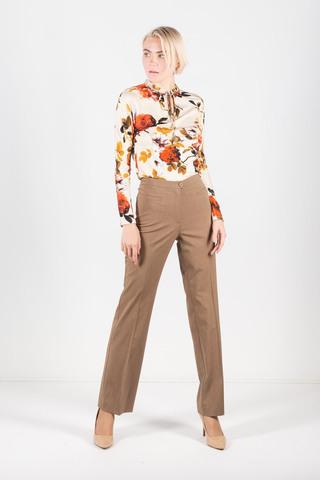Фото коричневые классические брюки с высокой посадкой и прорезными карманами - Брюки А435-335 (1)