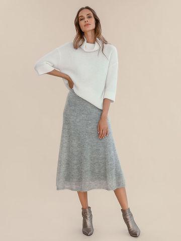 Женская юбка светло-серого цвета из мохера - фото 2