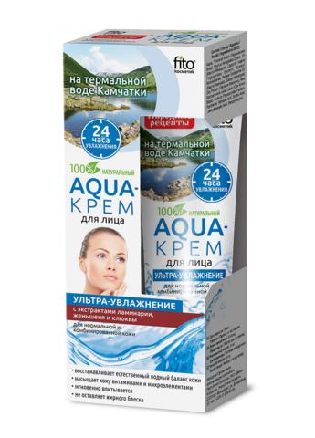Фитокосметик Народные рецепты Aqua-крем для лица Ультра- увлажнение для нормальной и комбинированной кожи 45мл