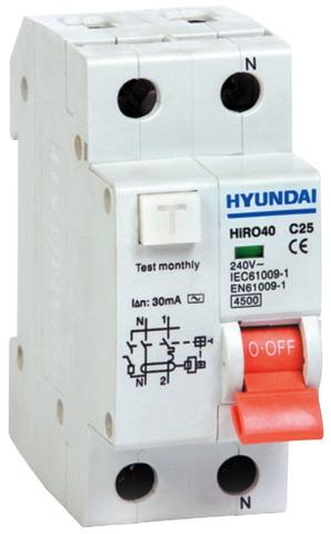 Дифференциальный автомат HIRO40 1NG2S0000C 1 полюс + нейтр., от 6 до 40А ток к.з. 4.5kA,10mA