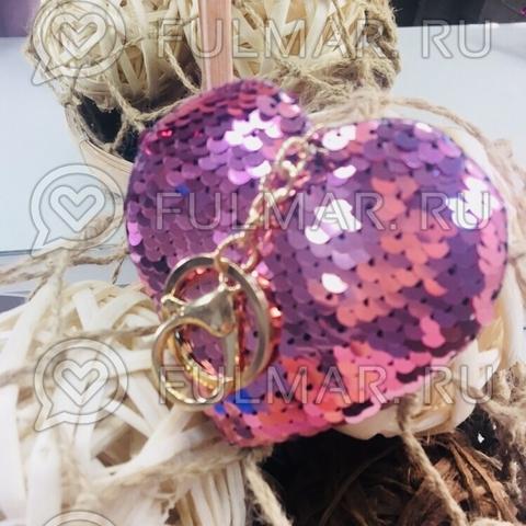 Сердце брелок полностью в пайетках меняет цвет Розовый - Серебристый