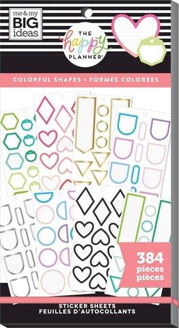 Блокнот со стикерами для ежедневника Create 365 Happy Planner Sticker Value Pack-BIG - colorful shapes, 384 шт