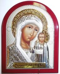 Серебряная с золочением икона Божией Матери Казанская 11х9см