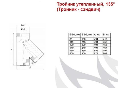 Тройник-сэндвич 135°, Ø150/250, 0,5 мм, нерж/оц