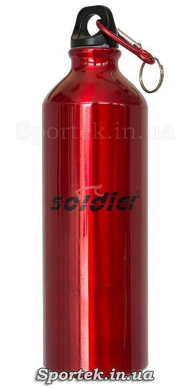 Легкая и прочная алюминиевая фляга Soldier на 750 мл - красная