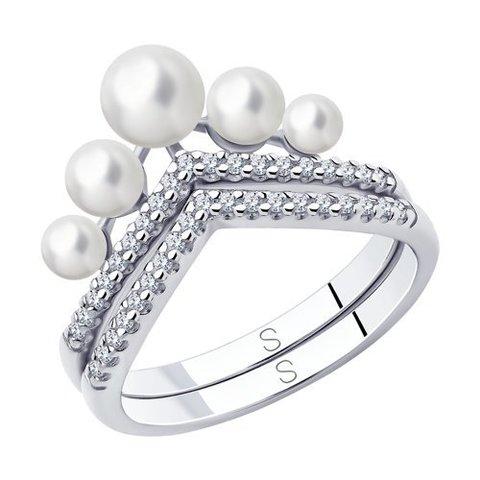 94013100 - Кольцо из серебра с жемчугом и фианитами