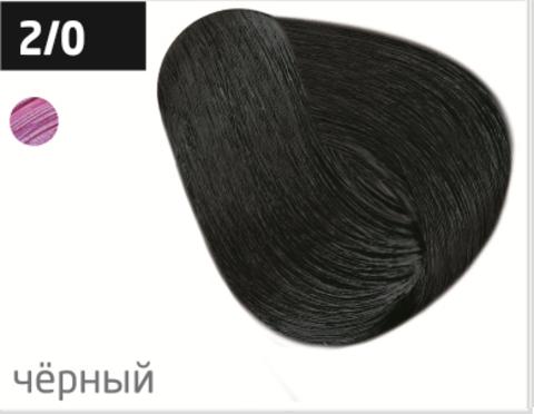 OLLIN color 2/0 черный 100мл перманентная крем-краска для волос